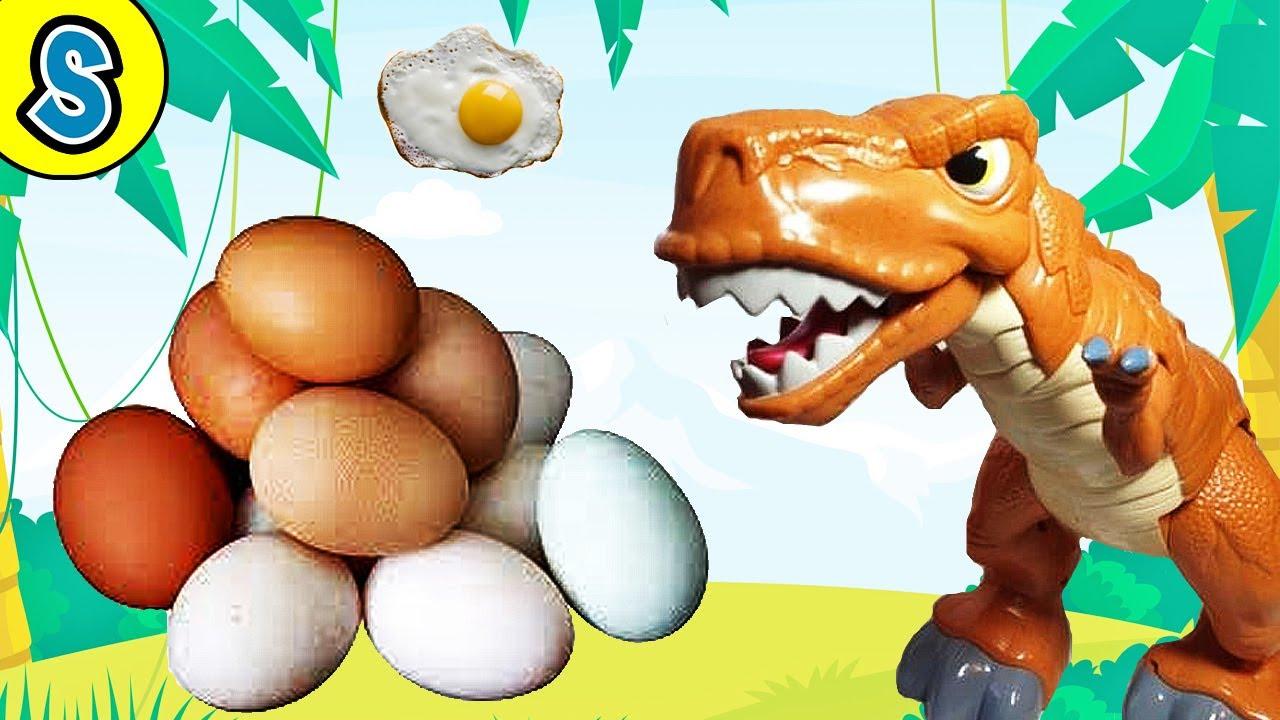 T-rex lay real dino eggs! Skyheart's dinosaur toys for kids jurassic world mattel fisher price fight