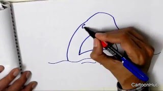 JAWS-Draw a shark attack, in easy steps for children, kids, beginners