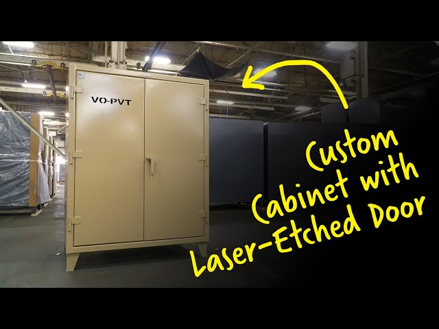 Custom Cabinet with Laser-Etched Door | Strong Hold