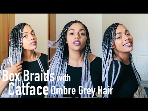 Box Braids With CatFace Ombre Grey Hair Tutorial
