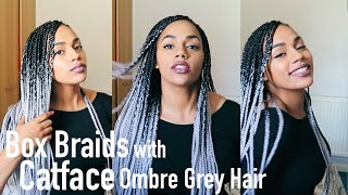 Box Braids with CatFace Ombre Grey Hair | Tutorial and Review