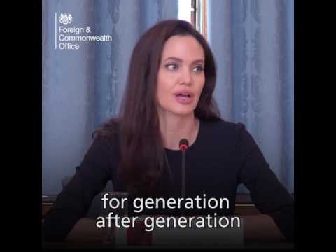 Angelina Jolie speaks at the Foreign and Commonwealth Office