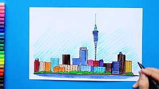 How to draw and color Auckland Skyline