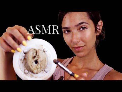 ASMR Tingly Coffee Ear Cleaning (Scrub Massage, Sponge sounds, Sticky sounds...)