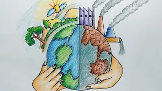 ... easy way to draw global warming drawing how stop pollution drawin...
