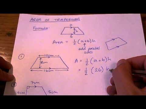 How To Calculate The Area Of A Trapezium Youtube