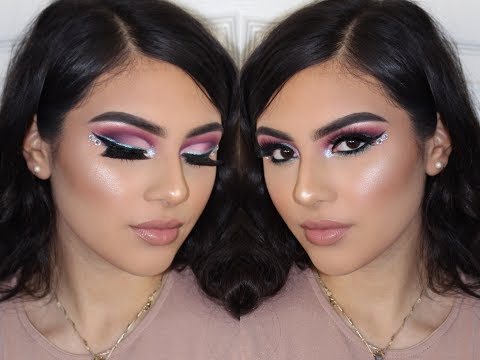 Full Face- Pink glam tutorial with a twist of blue