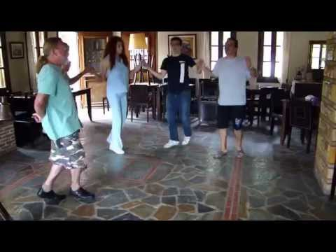 A class in traditional Greek dancing at Restaurant Panselinos, Alonissos Island