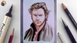 Hugh Jackman Wolverine miniature portrait timelapse animation