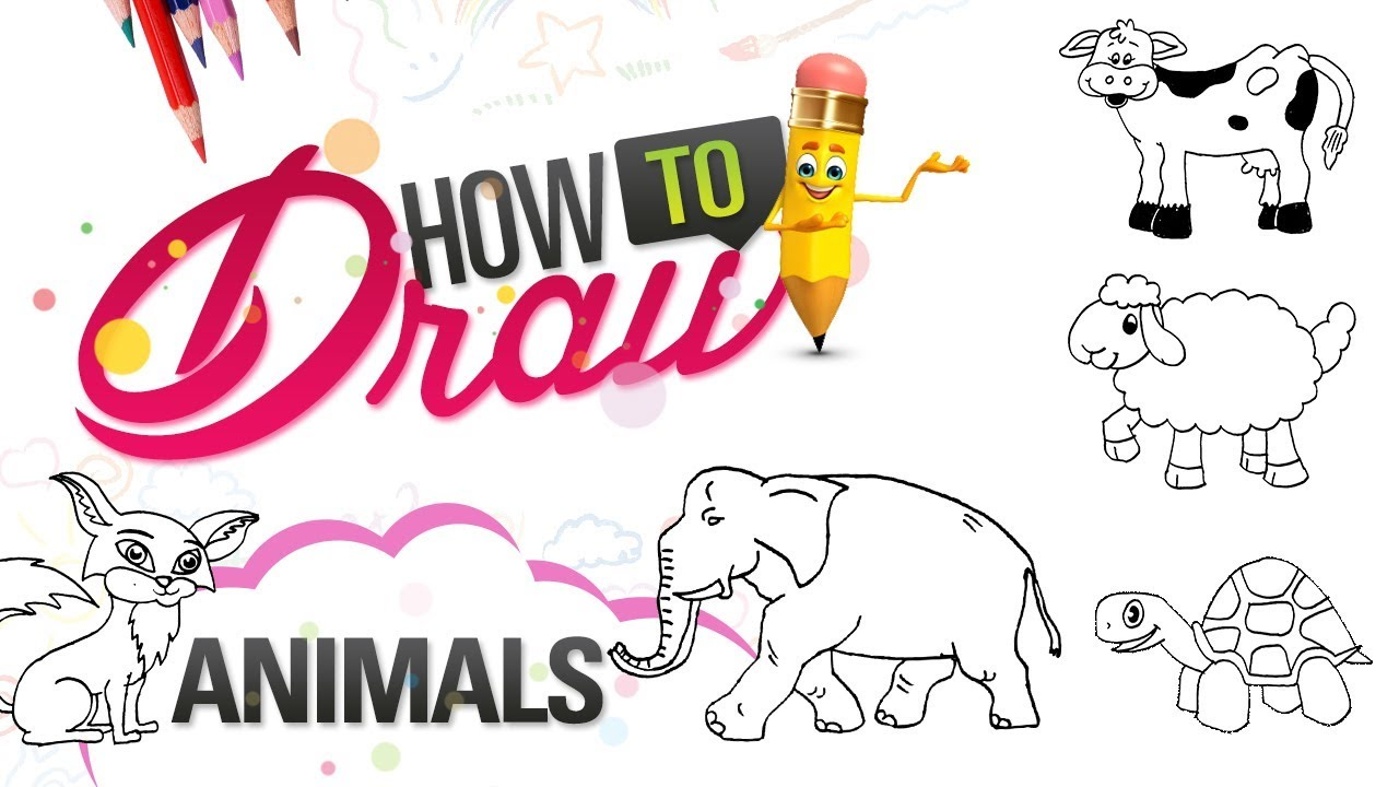 How To Draw Animals Drawing For Kids Elephant Duck Tortoise