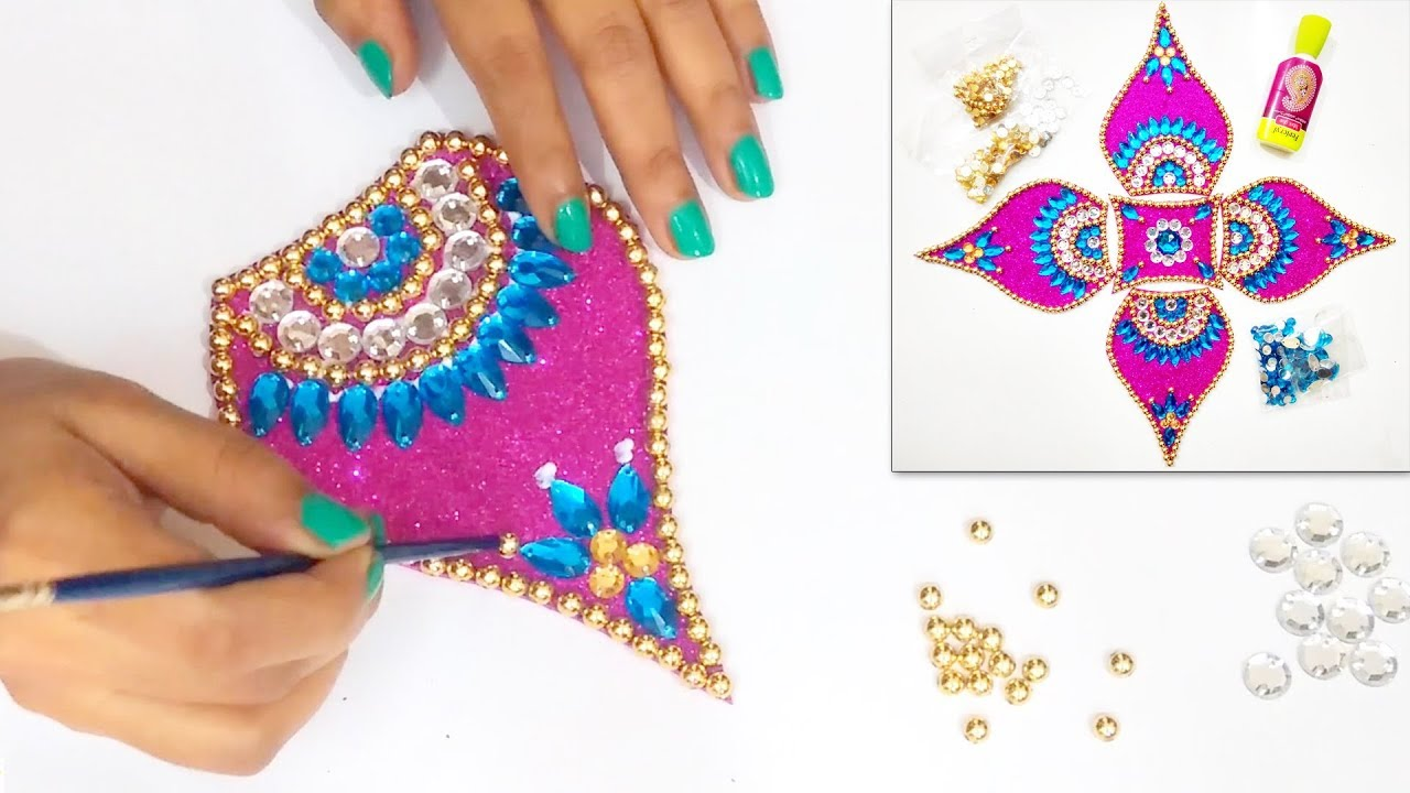 How to make Easy & Attractive Rearrangable KUNDAN RANGOLI | Diwali ...