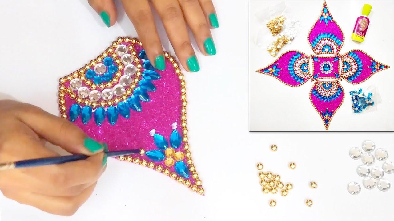 How to make Easy & Attractive Rearrangable KUNDAN RANGOLI | Diwali ...