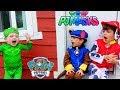 Paw Patrol HELPS PJ MASKS Little Gekko Assistant in Giant Kids Playhouse