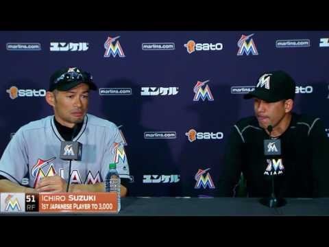 Miami Marlins OF Ichiro Suzuki reaches 3,000 hits -- full press conference