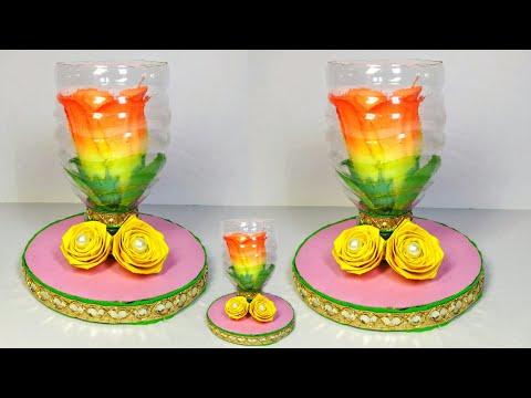 Make awesome plastic bottles decoration ideas // craft ideas // showpiece craft ideas