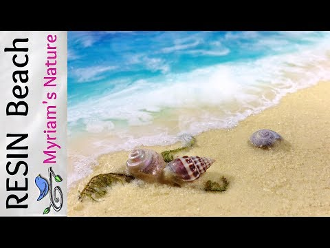 38]  Paint a RESIN & Acrylic BEACH - Real SAND & SHELLS - How to - Step by Step