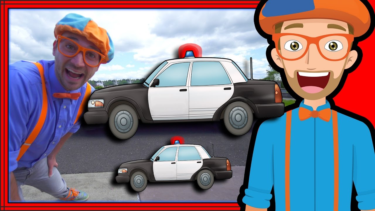 blippi police car tour songs for kids of the police car song