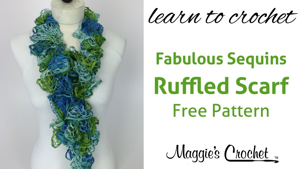 30 Minute Easy Ruffled Scarf with Mary Maxim Fabulous Sequins Yarn ...