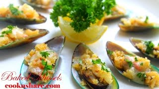 Baked Mussels With Cheese And Garlic