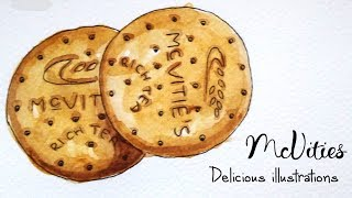 How to Draw & Paint McVities Biscuits With Watercolor & Ink | Delicious Illustrations