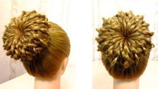 Пучок из волос на основе 4 х прядной косы. Видео урок 2. Hair donut bun(Канал с прическами http://www.youtube.com/user/LiliaLady777 Предлагаю вам коллекцию оригинальных и красивых причесок.Вы..., 2015-04-01T17:05:36.000Z)