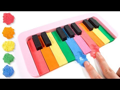 Coloring Rainbow Piano with Kinetic Sand for Kids, Children