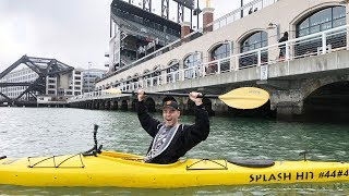 In a kayak in McCovey Cove outside AT&T Park!