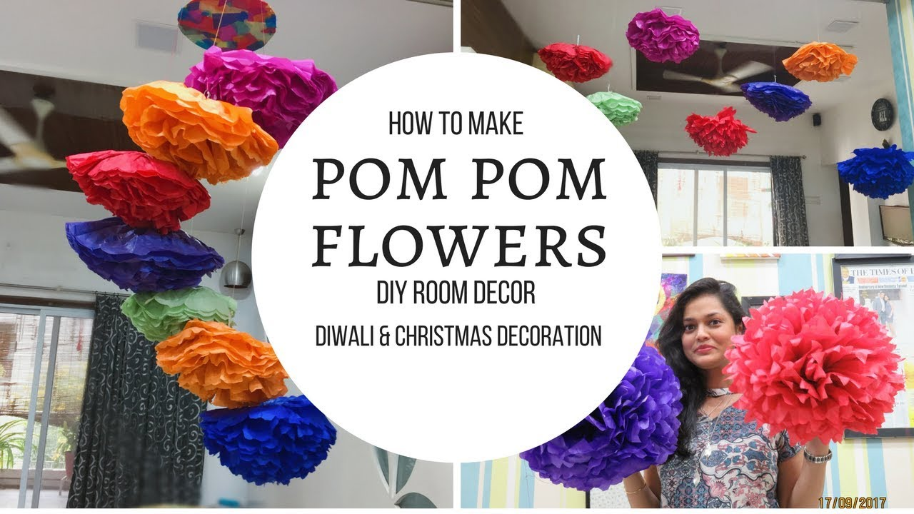 diy home decor for diwali diy room decor with pom pom flowers diwali decoration or 12087