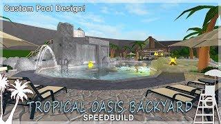 Roblox Bloxburg | Tropical Oasis Backyard - Custom Pool!