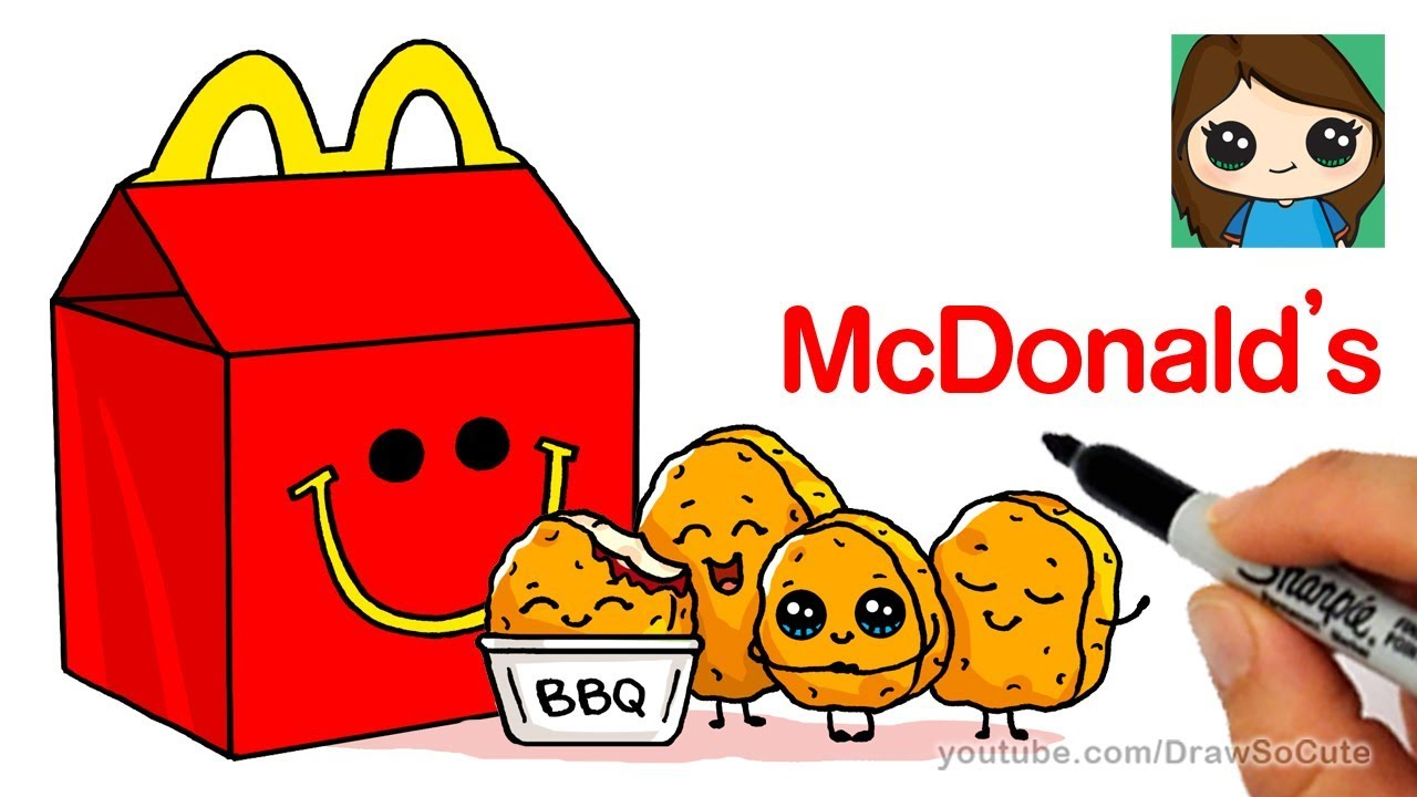 How To Draw Mcdonald S Happy Meal Easy Cute Food Youtube