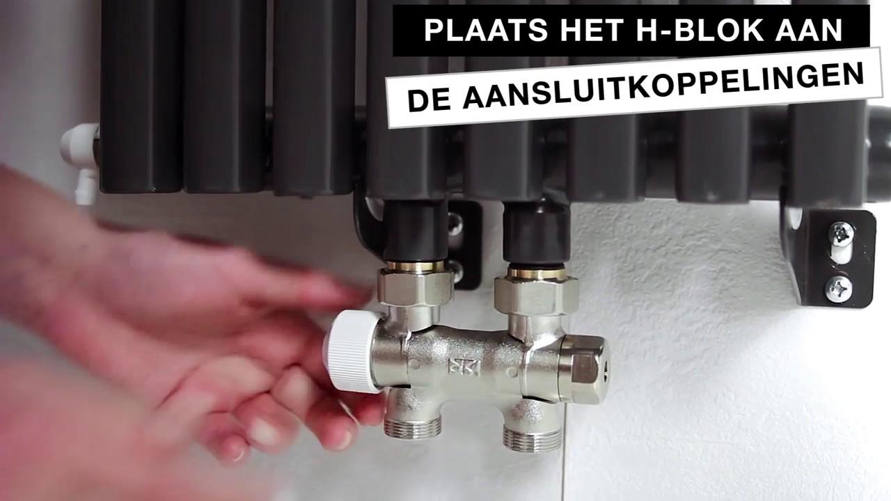 Aansluiten Radiator H Blok.Radiator Toebehoren Plaatsen Sanivesk