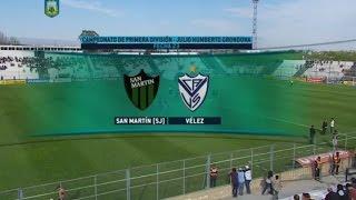 Fútbol en vivo - San Martin SJ - Vélez. Fecha 22 de Torneo de Primera División 2015. FPT.