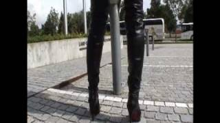 Outdoor in High Heels and leather Part 14