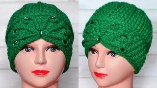 Теплая шапка крючком. Мастер класс и схема. Crochet hat.