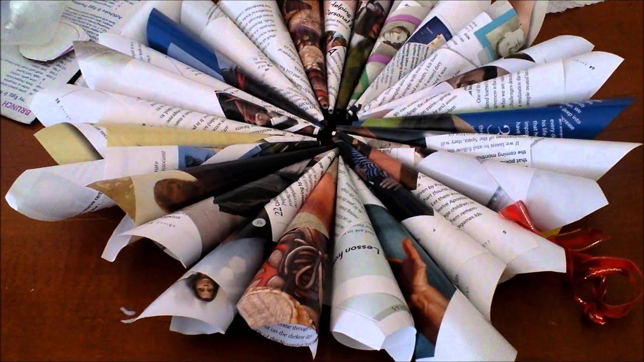 Adorno para la pared hecha con papel reciclado - Manualidades de papel reciclado ...