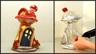 ❣DIY Mushroom Fairy House Lamp Using Coke Plastic Bottle❣