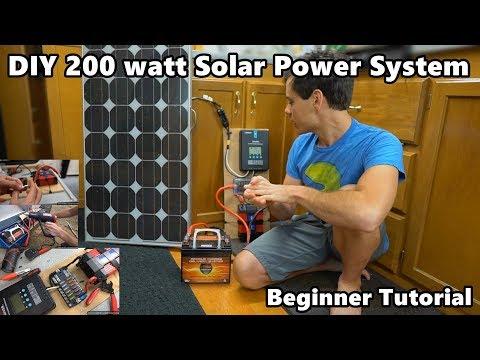"""DIY 200 Watt 12 volt Solar Power System """"The Minimalist"""" Beginner Tutorial"""