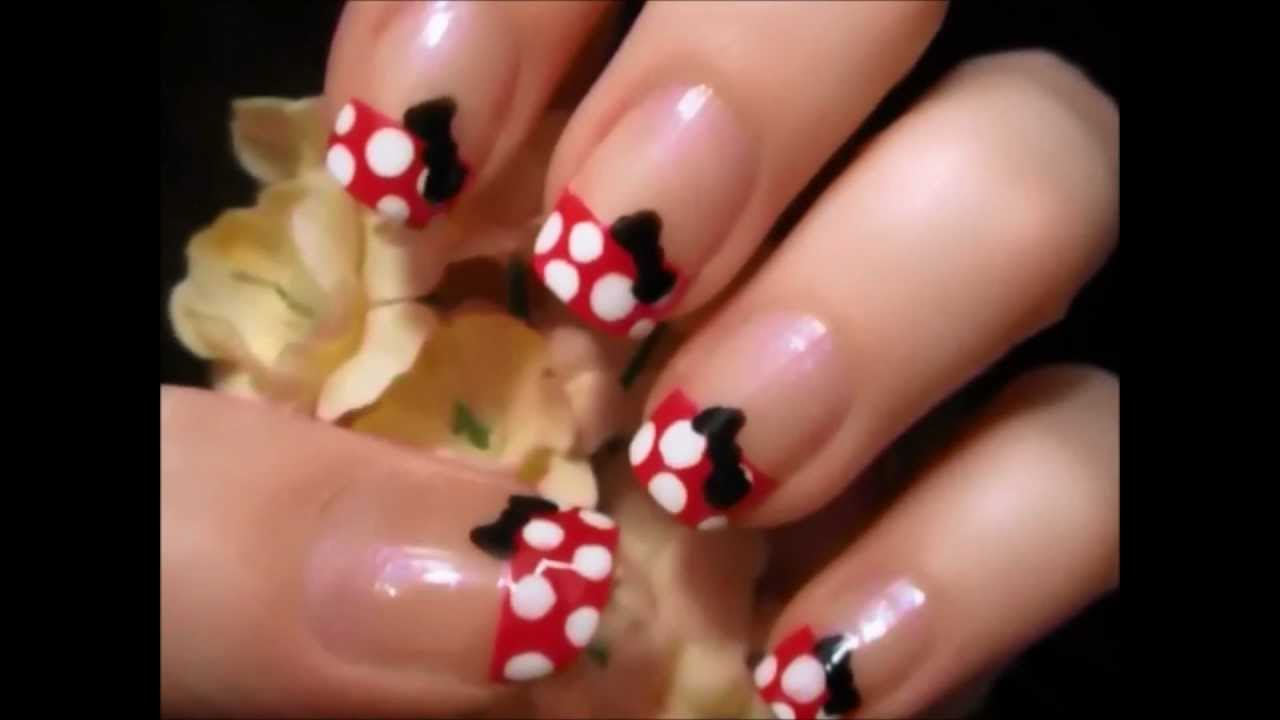 Uñas decoradas de Minnie Mouse - YouTube