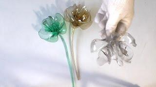flor de garrafa pet- fácil de fazer- sem usar cola- diy