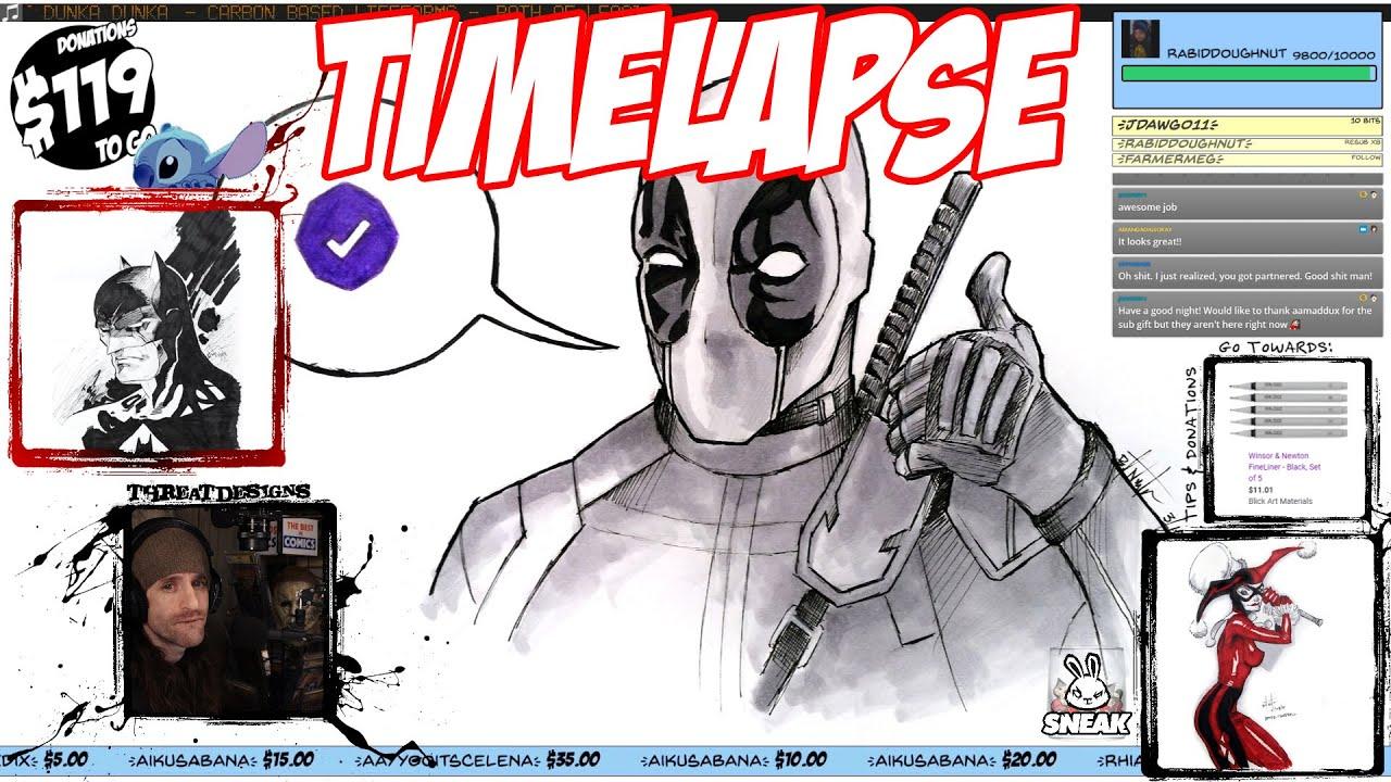 Timelapse Art Stream #123: Deadpool - 3/10/21 - ThreatDesigns.tv
