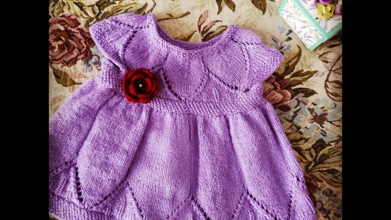 Ажурное платье спицами для девочки часть 2