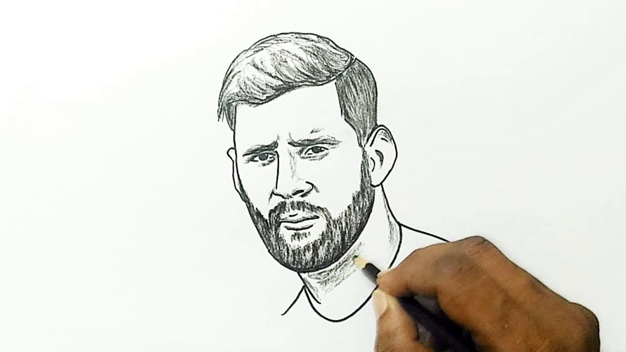 How to Draw Lionel Messi with a Beard - YouTube