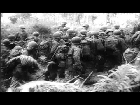 US soldiers attack the Los Negros Island in the South Pacific and capture an airs...HD Stock Footage