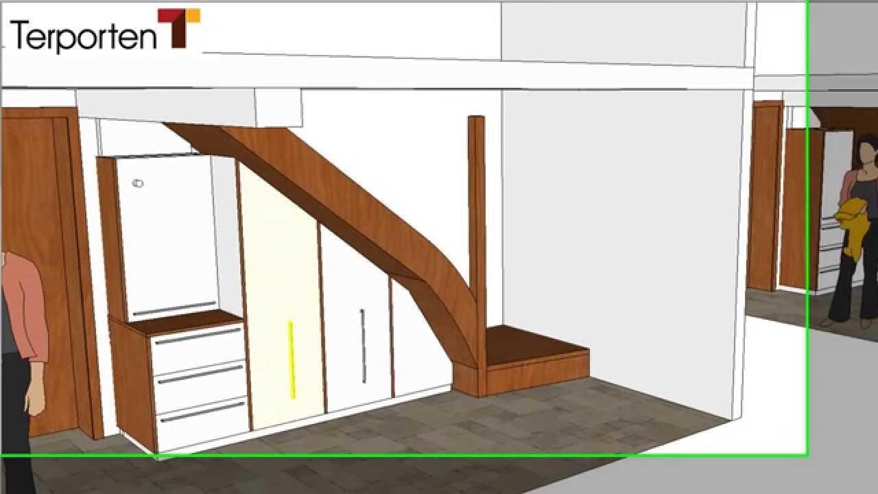 Schuhschrank unterhalb einer treppe youtube for Schuhschrank treppe
