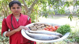 Village style cooking Fish Fry / Simple and Delicious Fish cooking With potatoes Tomato Mix Fry