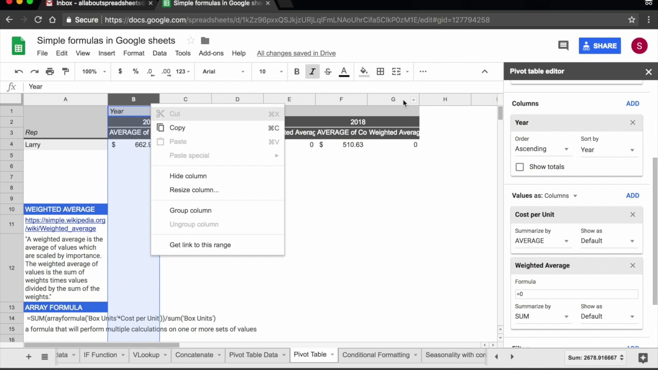 Pivot Tables 2 Calculated Fields In Google Sheets