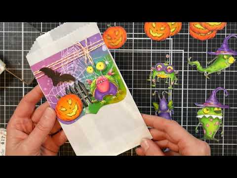 Let's Make Halloween Favor Bags (or Journal Pockets) And Cards!
