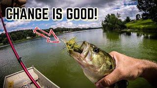 Bass Fishing a GRASSY Lake in a JON BOAT