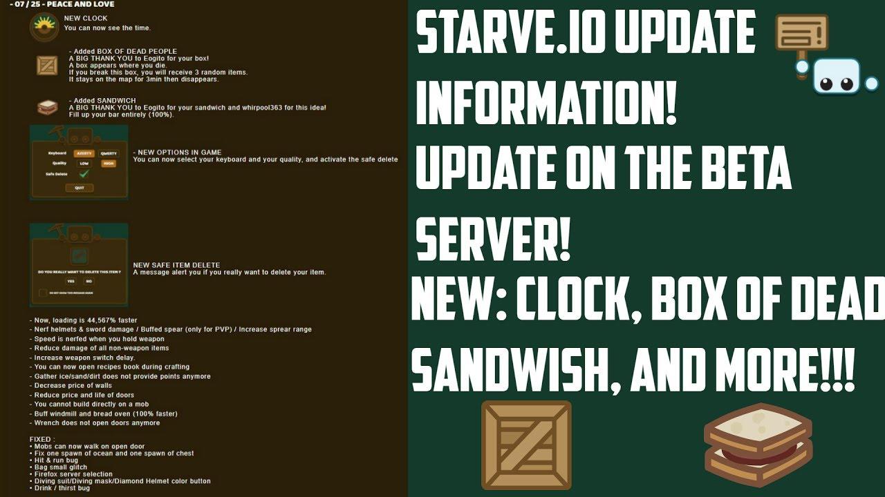 Starve io Update Information! | Beta Server Update!