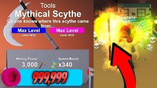 MAXED OUT MYTHICAL SYTHE IN MINING SIMULATOR!! *EXPENSIVE* (Roblox)